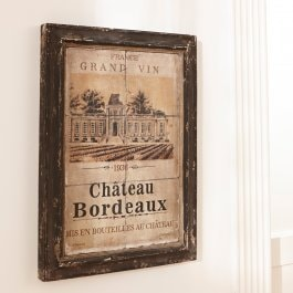 Quadro Chateau Bordeaux marrone scuro antico/beige