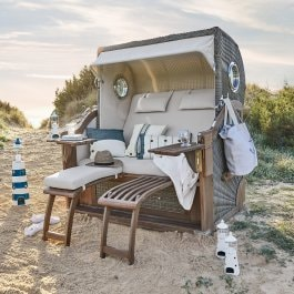 Poltrona da spiaggia in vimini Clifford Beach marrone/beige